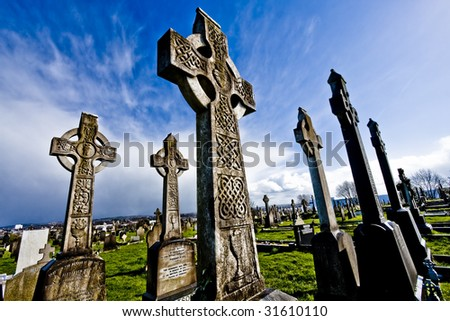 old cemetery on belfast.crosses