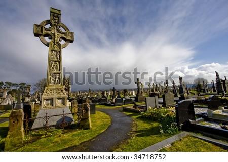 old cemetery on belfast.crosses - stock photo