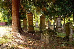 Old Cemetery with a lot of stone tombstones and graves . Autumn graveyard background. tombstones in an ancient church graveyard, Jewish necropolis