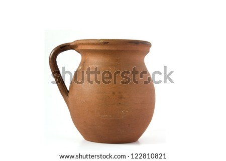Old ceramic vase isolated on white background