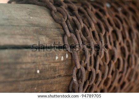 Old chain on a wood background