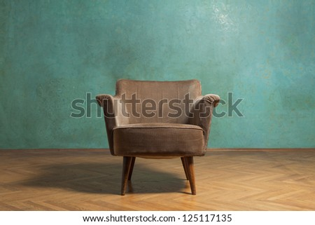 old chair in grunge room with...