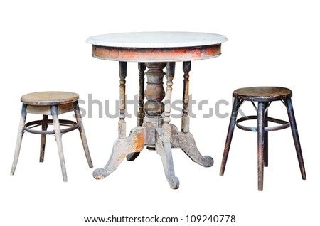 Old chairs and old table on white background.