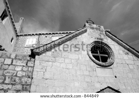 Old chapel in Dubrovnik, Croatia.  Black and white.