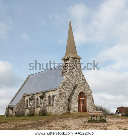 Old chapel in Etretat, Normandy, France - stock photo