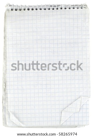 Old checked notebook paper