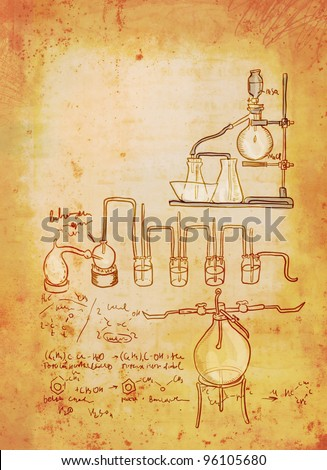 Old chemistry laboratory background in vintage style