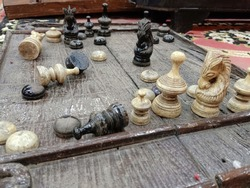 Old chess board Made of wood, vintage