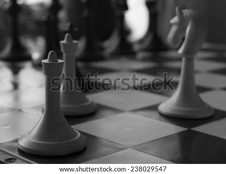 Old chess game vintage photo in black&white