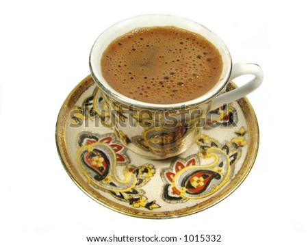 Old chinese cup of fresh coffee