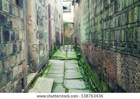 old chinese stone alley in Fuzhou city, Jinxi County, Dongyuan Village,Jiangxi