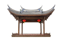 Old Chinese traditional pavilion or stage with red lantern hanging isolated on white background