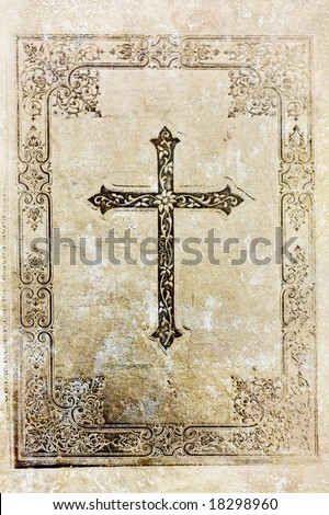 Old, christian background with cross and florals