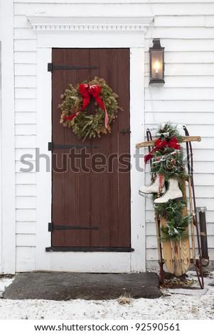 Old Christmas Door