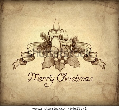 Christmas Wishes on Stock Photo   Old Christmas Greeting Card With Drawing Of Candle And