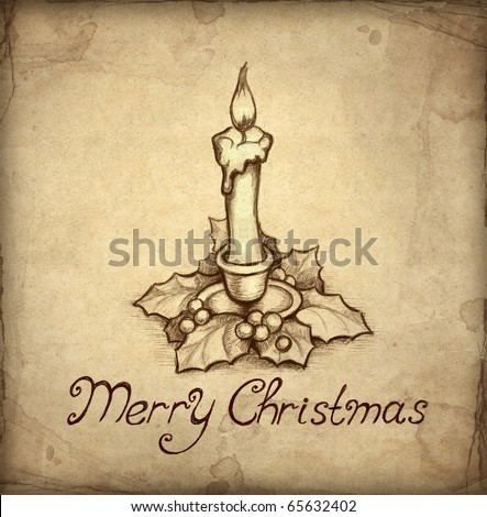 Old christmas greeting card with drawing of candle and holly berry