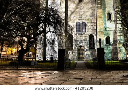 Old church in Bergen city in Norway named Marie church