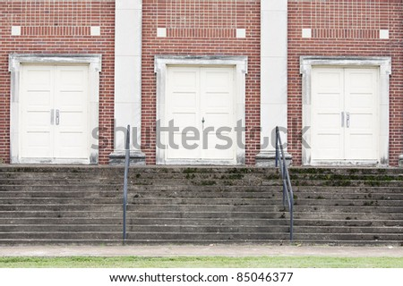 old church/school entrance background - stock photo