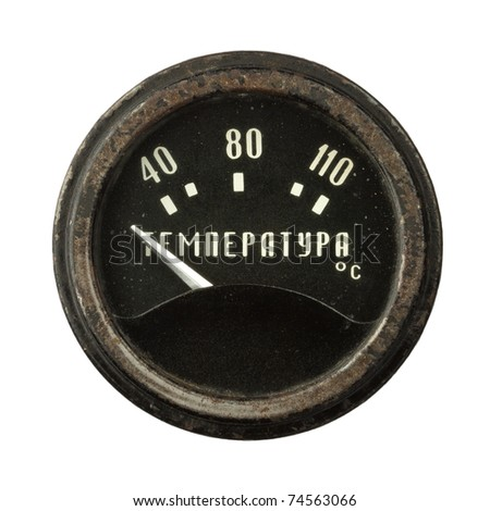 Old circular industrial temperature meter, russian thermometer.