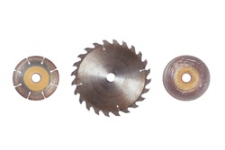 Old circular saw blades and old concrete cutting saw blades Isolated on white