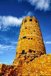Old circular watchtower made of stone at Grand Canyon, Arizona, United States