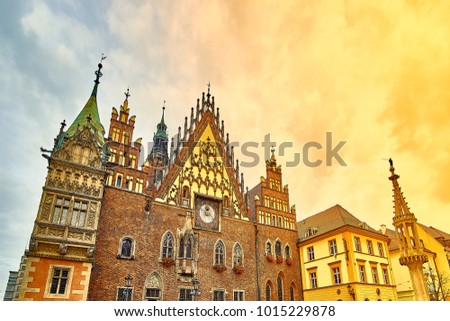 Old City Hall on Market Square in Wroclaw. Wroclaw, Lower Silesian Poland. #1015229878