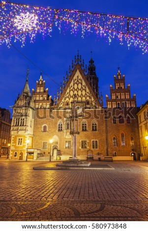 Old City Hall on Market Square in Wroclaw. Wroclaw, Lower Silesian, Poland. #580973848