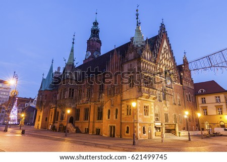 Old City Hall on Market Square in Wroclaw. Wroclaw, Lower Silesian, Poland. #621499745