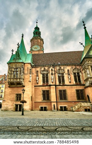 Old City Hall on Market Square in Wroclaw. Wroclaw, Lower Silesian Poland. #788485498