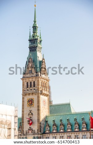 Old City Hall on Rathausmarkt in Hamburg on a beautiful day - Germany. #614700413