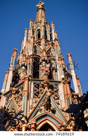 old city Nuremberga - fountain tower - stock photo