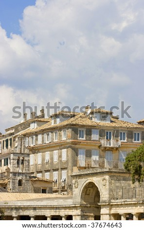 Old city of Corfu in Greece with the Venetian palace