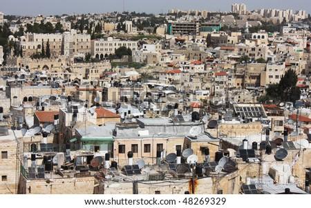 Old City of Jerusalem. Muslim Quarter, West Bank. Top view