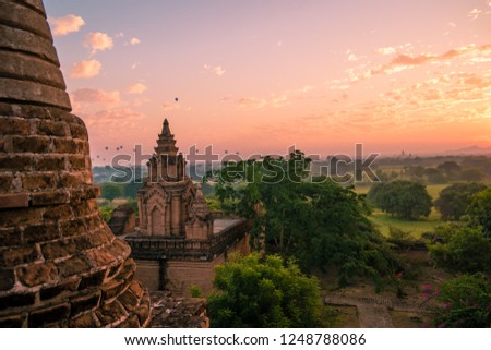 old city ruins of Bagan Myanmar during Sunrise, sunset dusk Pagan temples and pagodas in Burma