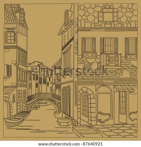 old city street. Illustration