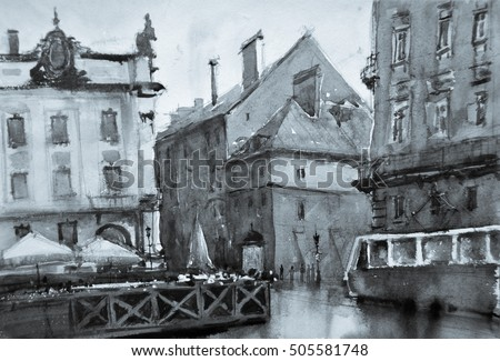 Stock Photo old city street watercolor painting