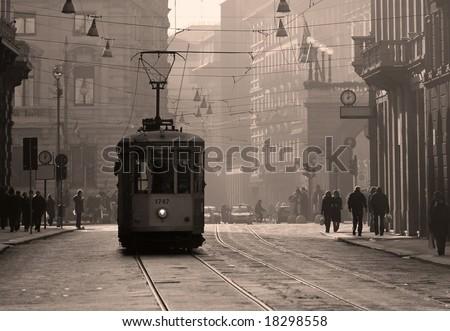 Old City Tram, Milan, Italy