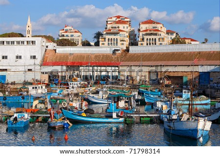 Old city Yaffo (Israel). A view on port from the Mediterranean sea.