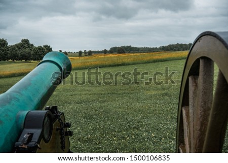 Old Civil War cannon line prepared for battle #1500106835