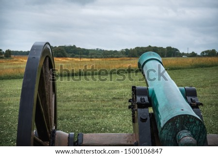 Old Civil War cannon line prepared for battle #1500106847