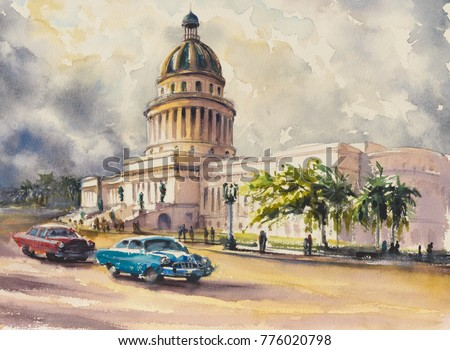 Old classic American cars rides in front of the Capitol in Havana,Cuba.Picture created with watercolors.