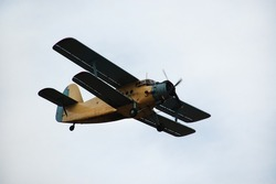Old classic Antonov (AN-2) cornhusker airplane in the air