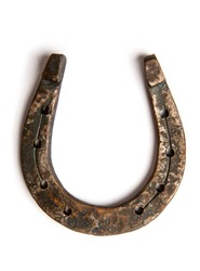 old classic steel horse horseshoe isolated on white background