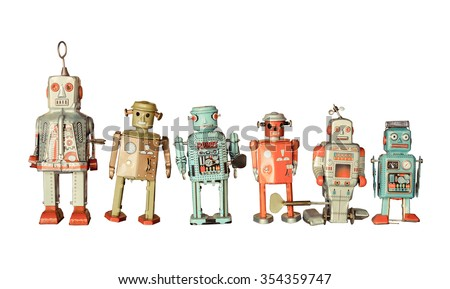 old classic tin robot toys isolated