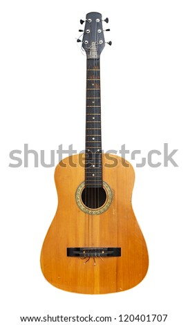 Old classical acoustic guitar. Isolated with paths