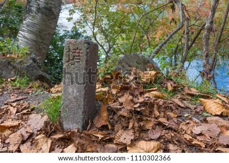 Old classical Demarcation Border stone. Boundary (Translation)