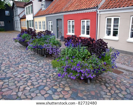 Old classical street with beautiful flower pots Odense Denmark