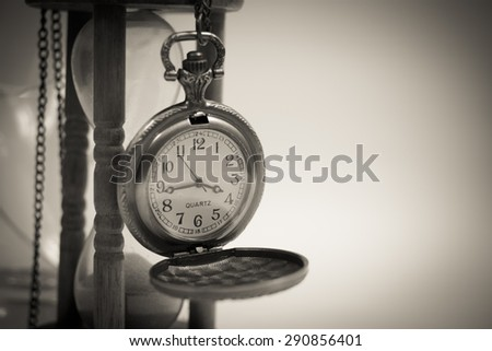 Old Clock and Hourglass Necklace