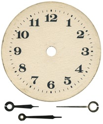 Old clock face and arrows, isolated with clipping path