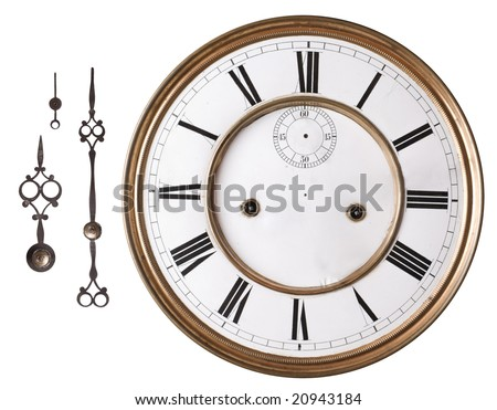 Old clock face and hands isolated on white.